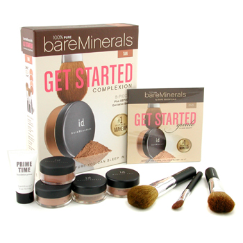 BareMinerals Get Started Complexion Kit - Tan. by Bare Escentuals for Women - 9 Pcs Kit (2xFdn Spf15+Mineral Veil+Face Color+3xBrush+DVD+Prime Time)