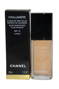 Vitalumiere Satin Smoothing Fluid Makeup SPF 15 # 40 Beige by Chanel for Women - 1 oz Makeup