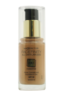 Facefinity All Day Flawless 3 In 1 Foundation SPF20 - # 80 Bronze by Max Factor for Women - 1 oz Foundation