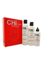 CHI Ionic Power Plus Hair Kit by CHI for Unisex - 3 Pc Kit 8.4oz Vitalizing Shampoo C-1, 6oz Stimulating Conditioner NC-2, 4oz Energy Hair Thickener C-3