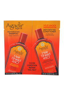 Argan Oil Hair Shield 450 Deep Fortifying Shampoo & Conditioner Duo by Agadir for Unisex - 2 x 0.33 oz Shampoo & Conditioner