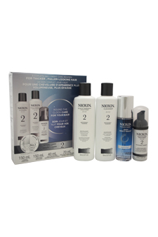 System 2 Noticeably Thinning for Fine Hair Kit by Nioxin for Unisex - 4 Pc Kit 5.07oz Cleanser, 5.07oz Conditioner, 1.35oz Scalp & Hair Treatment, 2.4oz Night Density Rescue Treatment
