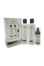System 2 Noticeably Thinning For Fine Hair Kit by Nioxin for Unisex - 3 Pc Kit 150ml Cleanser, 150ml Scalp Revitaliser Conditioner, 40ml Scalp & Hair Treatment