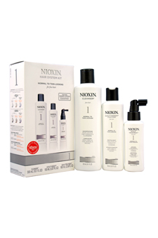 System 1 Thinning Hair Kit For Fine Natural Normal - Thin Looking Hair by Nioxin for Unisex - 3 Pc Kit 10.1oz Cleanser, 5.1oz Scalp Therapy, 3.4oz Scalp Activating Treatment