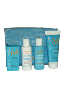 Moroccan Oil Travel Set by MoroccanOil for Unisex - 5 pc Kit 2.53oz Hydratante Styling Cream, 0.85oz Oil Treatment, 2.4oz Hydratante Conditioner, 2.4oz Hydratante Shampoo, Pouch