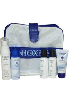 System 2 Kit For Natural Noticeably Thinning Hair by Nioxin for Unisex - 5 Pc Kit 1.4oz Scalp Treatment, 1.7oz Cleanser, 1.7oz Scalp Therapy, 1.7oz Volumizing Reflectives Thickening Gel, 1.7oz Volumizing Reflectives Niospray Extra Hold