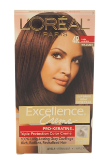 Excellence Creme Pro - Keratine # 4R Dark Auburn - Warmer by L'Oreal Paris for Unisex - 1 Application Hair Color