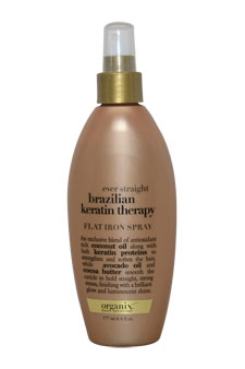 Ever Straight Brazilian Keratin Therapy Flat Iron Spray by Organix for Unisex - 6 oz Spray