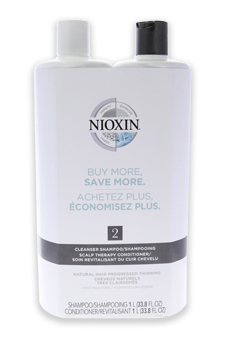 System 2 Cleanser & Scalp Therapy Conditioner Duo by Nioxin for Unisex - 33.8 oz Shampoo & Conditioner