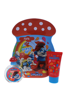 The Smurfs Papa by First American Brands for Kids - 2 Pc Gift Set 1.7oz EDT Spray, 2.5oz Bubble Bath
