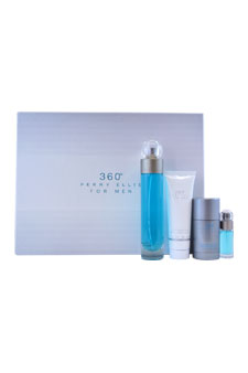 360 by Perry Ellis for Men - 4 Pc Gift Set 3.4oz EDT Spray, 3oz After Shave Balm, 2.75oz Alcohol-Free Deodorant Stick, 7.5ml EDT Spray