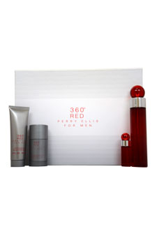 360 Red by Perry Ellis for Men - 4 Pc Gift Set 3.4oz EDT Spray, 3oz After Shave Balm, 2.75oz Alcohol Free Deodorant Stick, 7.5ml EDT Spray