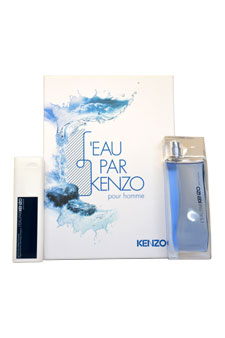 L'eau Par Kenzo Pour Homme by Kenzo for Men - 2 Pc Gift Set 3.4oz EDT Spray, 3.4oz Hair & Body Shampoo