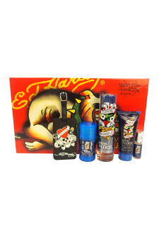 Ed Hardy Love & Luck by Christian Audigier for Men - 5 Pc Gift Set 3.4oz EDT Spray, 3oz Hair & Body Wash, 2.75oz Alcohol Free Deodorant, 7.5ml Mini EDT Spray, Luggage Tag with Original Ed Hardy Tattoo Design