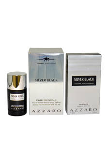 Loris Azzaro Silver Black  men 3.4oz EDT Spray Deodorant Stick Gift Set