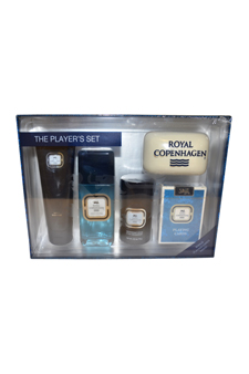 Royal Copenhagen by Royal Copenhagen for Men - 4 Pc Gift Set 3.3oz EDC Spray, 3.3oz Hair & Body Care, 2.5oz Deodorant Stick, Playing Cards