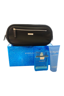 Versace MGS2423 Versace Man Eau Fraiche by Versace for Men 3 Pc Gift Set 3.4oz EDT Spray#44; 3.4oz Perfumed Bath and Shower Gel#44; Trousse