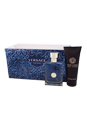 Versace Pour Homme by Versace for Men - 3 Pc Gift Set 3.4oz EDT Spray, 3.4oz Hair & Body Shampoo, Trousse