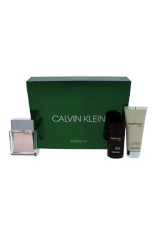 Euphoria by Calvin Klein for Men - 3 Pc Gift Set 3.4oz EDT Spray, 2.6oz Deodorant Stick, 3.4oz After Shave Balm