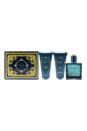 Versace Eros by Versace for Men - 3 Pc Gift Set 1.7oz EDT Spray, 1.7oz Comfort After Shave Balm, 1.7oz Invigorating Shower Gel, Trousse