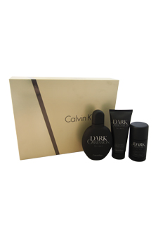 Dark Obsession by Calvin Klein for Men - 3 Pc Gift Set 4oz EDT Spray, 2.6oz Deodorant Stick Alcohol Free, 3.4oz After Shave Balm