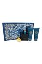 Versace Eros by Versace for Men - 4 Pc Gift Set 3.4oz EDT Spray, 3.4oz Comfort After Shave Balm, 3.4oz Invigorating Shower Gel, keychain