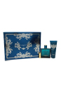 Versace Eros by Versace for Men - 3 Pc Gift Set 3.4oz EDT Spray, 3.4oz Invigorating Shower Gel, Versace Money Clip