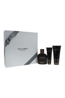 Intenso by Dolce & Gabbana for Men - 3 Pc Gift Set 4.2oz EDP Spray, 3.3oz After Shave Balm, 1.6oz Shower Gel