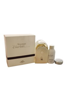 Voyage D'Hermes by Hermes for Unisex - 3 Pc Gift Set 3.3oz EDT Spray (Refillable), 1oz All-Over Shower Gel, 0.35oz Moisturizing Balm Face And Body