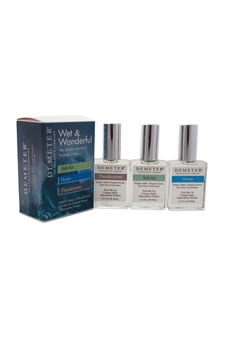 Wet & Wonderful Set by Demeter for Unisex - 3 Pc Gift Set 1oz Salt Air Cologne Spray, 1oz Ocean Cologne Spray, 1oz Thunderstorm Cologne Spray