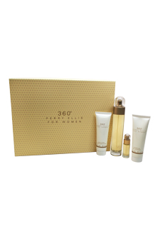 360 by Perry Ellis for Women - 4 Pc Gift Set 3.4oz edt spray, 3oz body lotion, 3 oz shower gel, 7.5 ml edt spray