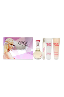 Can Can by Paris Hilton for Women - 4 Pc Gift Set 3.4oz EDP Spray, 3oz Body Lotion, 3oz Bath and Shower Gel, 0.25oz Perfume Stick