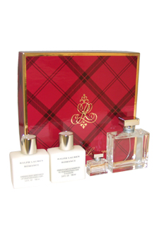Romance by Ralph Lauren for Women - 4 Pc Gift Set 3.4oz EDP Spray, 3.4oz Sensuous Body Moisturizer, 3.4oz Sensuous Bath & Shower Gel, 7ml Mini EDP Splash