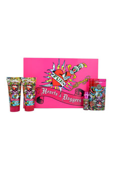 Ed Hardy Hearts & Daggers by Christian Audigier for Women - 4 Pc Gift Set 3.4oz EDP Spray, 3oz Shimmering Body Lotion, 3oz Bath & Shower Gel, 7.5ml Mini EDP Spray