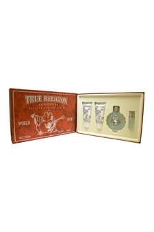 True Religion by True Religion Brand Jeans for Women - 4 Pc Gift Set 3.4oz EDP Spray, 0.25oz EDP Spray, 3oz Bath & Shower Gel, 3oz Shimmering Body Lotion