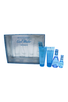 Cool Water by Davidoff for Women - 4 Pc Gift Set 1.7oz EDT Spray, 2.5oz Gentle Shower Breeze, 2.5oz Moisturizing Body Lotion, 0.5oz EDT Spray