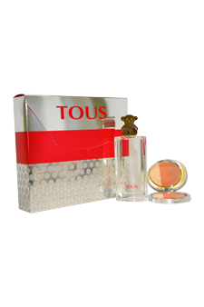 Tous Silver by Tous for Women - 2 Pc Gift Set 1.7oz EDT Spray, 0.35oz Blush Trio Tous Colors #01 Teddy Brown
