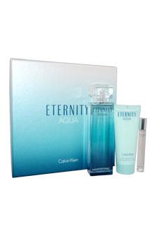 Calvin Klein Eternity Aqua women 3.4oz EDP Spray Body Lotion Gift Set