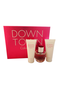 Calvin Klein Down Town women 3oz EDP Spray Body Lotion Shower Gel Gift Set