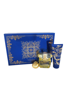 Versace Yellow Diamond Intense by Versace for Women - 3 Pc Gift Set 3oz EDP Spray, 3.4oz Perfumed Body Lotion, Versace Keychain