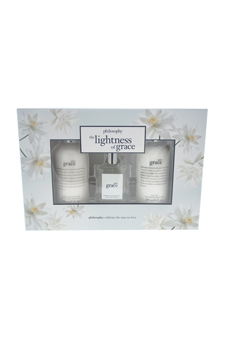 The Lightness of Grace by Philosophy for Women - 3 Pc Gift Set 2oz Pure Grace EDT Spray, 8oz Shampoo Bath & Shower Gel, 8oz Body Lotion