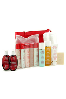 Eau Dynamisante Travel Set: Shower Concentrate+Soap+Shower Gel+Shampoo+Conditioner+Body Lotion+Body Exfoliator+Body Oil+Body Fragrance+Hand Cream+Legs Emulsion+Towel by Clarins for Unisex - 12pcs + 2 Bags Gift Set