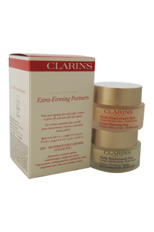 Extra Firming Partners: Day Cream 50ml + Night Cream 50ml by Clarins for Unisex - 2 pcs Set $ 85.99