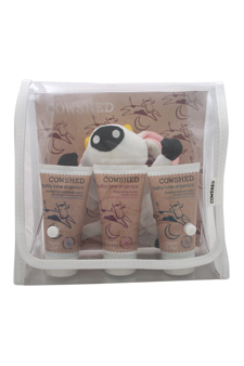 Baby Cow Organics by Cowshed for Kids - 4 Pc Set 2.1oz Frothy Hair & Body Wash, 2.1oz Milky Body Lotion, 2.1oz Buttery Bottom Balm, Floyd The Sponge
