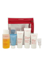 Take-Off Essentials - Travel Exclusive Set by Clarins for Unisex - 6 Pc Set 3.4oz One-Step Facial Cleanser - All Skin Types, 1oz HydraQuench Cream - Normal To Dry Skin, 0.5oz Beauty Flash Balm, 1.7oz Hand and Nail Treatment Cream, 0.9oz Moisture-Rich Body Lotion - Dry Skin, 0.1oz Eye Contour Gel