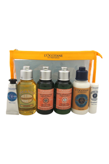 En Provence Travel Set by L'Occitane for Unisex - 6 Pc Set 2.5oz Shower Oil Cleansing and Softening, 2.5oz Shampoo Dry and Damaged Hair, 2.5oz Conditioner Dry and Damaged Hair, 2.5oz Ultra Rich Body Lotion, 0.3oz Shea Butter Hand Cream Dry Skin, 0.07oz Ultra Rich Lip Balm