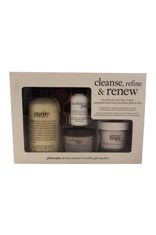 Cleanse Refine & Renew Kit by Philosophy for Unisex - 4 Pc Kit 8oz Purity Made Simple, 1oz The Microdelivery Peel Lactic/Salicilic Acid Activating Gel, 1oz The Microdelivery Peel Vitamin C/Peptide Crystal, 2oz Renewed Hope In a Jar