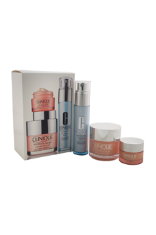 Clinique Best Sellers Treatment Set - All Skin Types by Clinique for Unisex - 3 Pc Set 1.7oz Moisture Surge Extended Thirst Relief, 1oz Turnaround Revitalizing Serum, 0.5oz All About Eyes