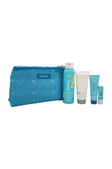 Organic Suncare Travel Set by Coola for Unisex - 4 Pc Kit 3.4oz Body SPF 30 Pina Colada Sunscreen Spray, 2oz ER+ Radical Recovery After-Sun Lotion, 0.85oz Classic Face SPF 30 Cucumber Moisturizer, 0.15oz Liplux SPF 30 Original