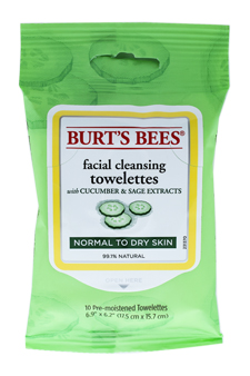 Facial Cleansing Towelettes - Cucumber & Sage by Burt's Bees for Unisex - 10 Pc Towelettes